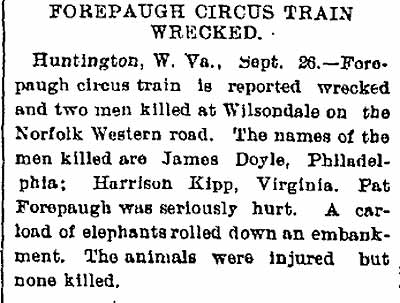 forepaugh circus train wreck
