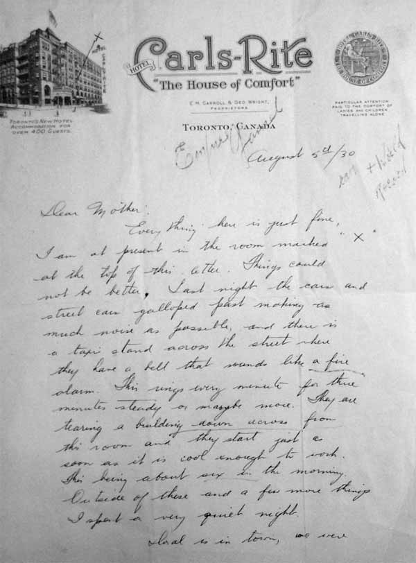 percy williams letter August 5, 1930