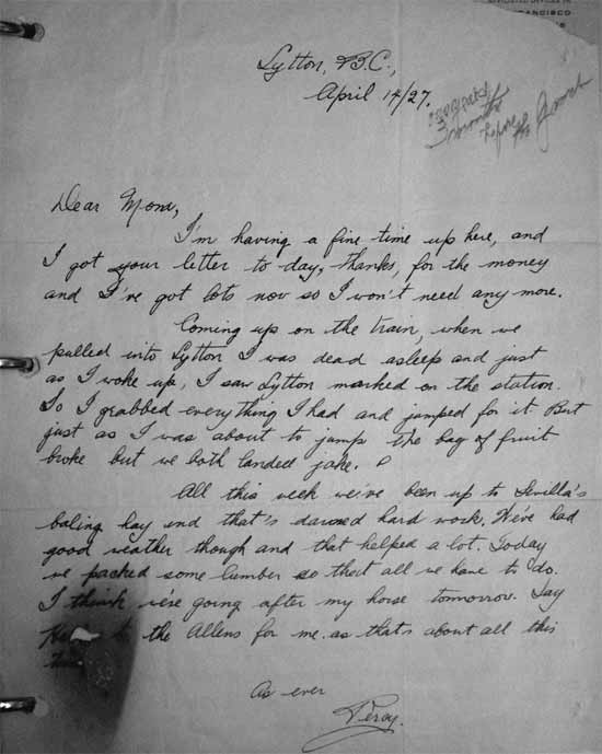 percy williams letter