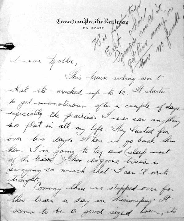 percy williams letter 1927